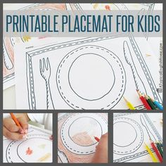 Printable table setting place mats table setting for kids printable placemat for kids to color in instant dinnertime entertainment for children maxwellsz