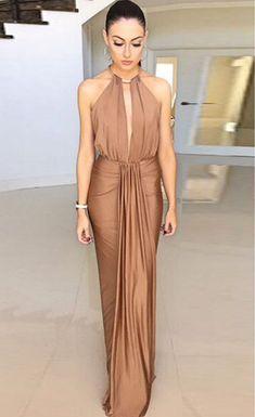 $45.99 Camel Silky Jewel Halter Evening Dress - Stella La Moda