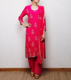 Pink Georgette Salwar Kameez with Applique Work
