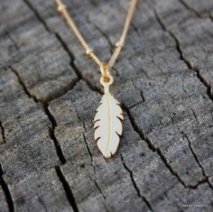 Gold Feather Necklace - 24K Gold Dipped Feather Charm . 14K Gold-Filled Satellite Chain . Native American . Tribal . Feather Jewelry