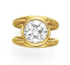 A DIAMOND RING Bezel-set with an old European-cut diamond, to the bifurcated hoop, mounted in gold Diamond Anniversary Rings, Diamond Rings, Diamond Engagement Rings, Diamond Jewelry, Jewelry Rings, Fine Jewelry, Jewellery, Antique Jewelry, Diamonds