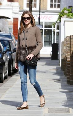 Olivia Palermo With Leah Butterfly Twists leopard flats - I love everything about this outfit.