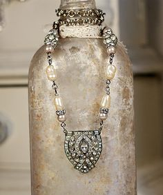 Rhinestone & Pearl Vintage Necklace
