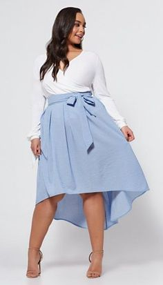 Kailah Bow Skirt - Fashion To Figure Plus Zise, Look Plus, Curvy Girl Fashion, Plus Size Fashion, Fashion Women, Plus Size Dresses, Plus Size Outfits, Mode Xl, Plus Size Womens Clothing