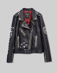 Painted faux leather jacket - Coats and jackets - Clothing - Woman - PULL&BEAR United Arab Emirates