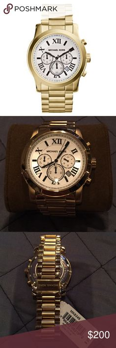 MK Runway Gold-Tone Stainless Steel Watch Beautiful gold MK watch. Store style # MK8345. Includes booklet and original box. Michael Kors Accessories Watches