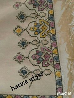Cross Stitch Borders, Bohemian Rug, Projects To Try, Embroidery, Pattern, Crafts, Design, Art, Towels
