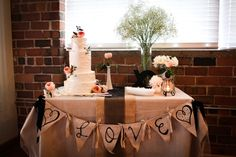 love banner on cake table