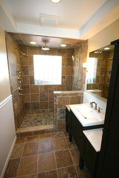 Traditional 3/4 Bathroom with American Standard Boulevard Pedestal Sink Basin, Arizona Tile Ciotolli Pebble Mosaic, Flush