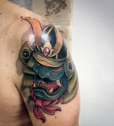 Guys Traditional Colorful Samurai Mask Shoulder Piece Tattoo
