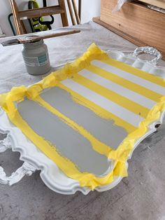 Silver Tray Makeover - Decorative Tray - Ideas of Decorative Tray - FrogTape for delicate surfaces is perfect for getting super crisp stripes. Upcycled Crafts, Repurposed, Paint Furniture, Furniture Makeover, Wooden Furniture, Antique Furniture, Chalk Paint Projects, Silver Trays, Ideias Diy