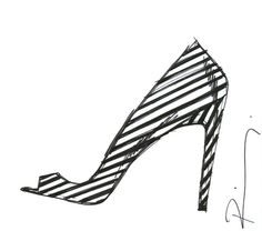 Striped Shoe Sketch - black & white fashion illustration