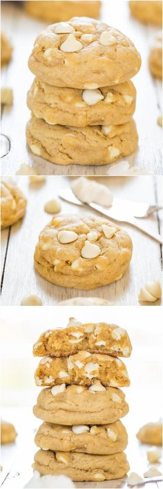 Soft and Chewy White Chocolate Cream Cheese Cookies - Move over butter. cream cheese makes these cookies thick and super soft!