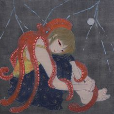 Modern Japanese art, the love of an octopus and a girl