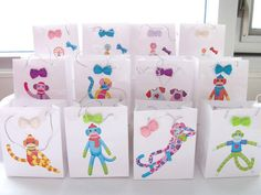 12 Monkey bowtie party favour bags - birthdaybaby shower favours by SparkleandComfort, $14.00
