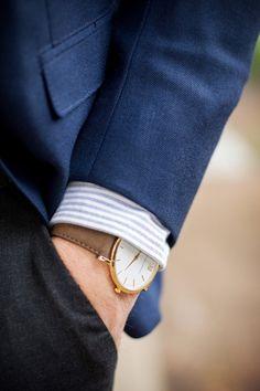 A closer look: Edward Honaker wears the Läder Classic Men, Der Gentleman, Larsson & Jennings, Well Dressed Men, Suit And Tie, Dress Codes, Watches For Men, Men's Watches, Nice Dresses