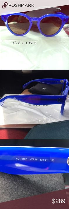 Celine Thin Preppy Blue Keyhole Round Sunglasses New without tags. No lowballs please. Perfect condition with case. Color true in photos, gorgeous bright blue. Last photo to show style. Reasonable offers welcome Celine Accessories Sunglasses