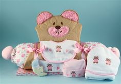 Quilted Bear 9 pc Changing Mat & Layette Gift Set (Girl) by Baby Gifts N Treasures.com