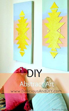 DIY Abstract Wall Art. Southwestern Inspired Wall Art. Card stock Projects. Glitter Art. Gallery Wall Ideas. Canvas Art #DIYHomeDecorCanvas