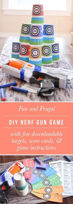 Fun and Frugal Date Night Idea: DIY Nerf Gun Game  Sometimes it's a little fun to get goofy and have an unconventional date night. That's why we came up with a fun DIY target practice date night for you and your special someone to try your hand in Nerf gun skills. Whether it's just you and your boo or the whole family, get ready to have some fun. Perfect for anyone on a budget, a great stay-out-home date idea, or to celebrate your husband on Father's Day.