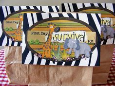 An adorable teacher survival kit for the first day of school...I am totally doing this next year!!!