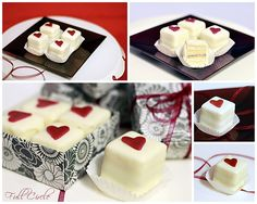 Yellow Cake Valentine Petit Fours layered with simple syrup, buttercream and jam. Dipped in Milk Custard Buttercream.