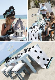 Tiffany themed beach party by Shawna Brockmeier Styled Events #hwtm #breakfastattiffanys