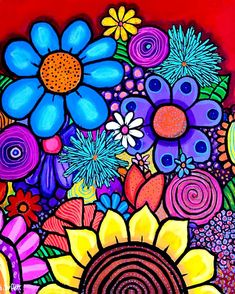 SOLD 16 x 20 x acrylic on birch wood. If interested in purchase co… – Doodles Flower Mural, Flower Art, Graffiti Kunst, Mural Wall Art, Mexican Art, Whimsical Art, Mandala Art, Doodle Art, Painting & Drawing