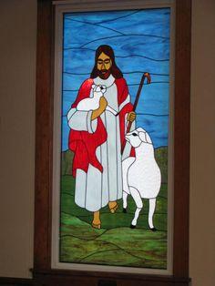 Jesus the Good Shepherd Installed -Bethel Chapel Church, Poplar Bluff, MO 2005 & 2008, by Sandy (Johnson) Burnett, (formerly Glass with a MIssion, Art-Attack-Studios,  GlassMoose.com)