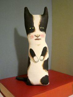 cat art doll , little cat , sandy mastroni, black and white ,whimsical , wall art doll , shelf art,