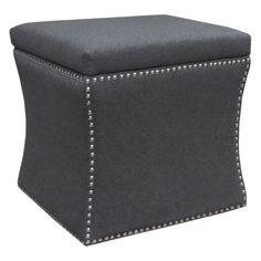 Accent Furniture Nailhead Storage Ottoman - Gray