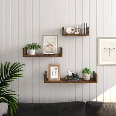 VASAGLE U-Shaped Wall Shelves, Set of 3, Vintage-Style Wall-Mounted Floating Shelves for Decorations, in the Living Room, Bedroom, Office, Rustic Brown LWS36BX Rustic Wall Shelves, Unique Shelves, Small Shelves, Wall Mounted Shelves, Rustic Walls, Display Shelves, Floating Wall Shelves, Living Room Shelves, Living Room Decor