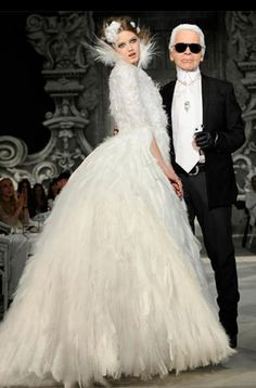 Chanel Haute Couture dress| Dresses with feathers| Chanel wedding theme ideas