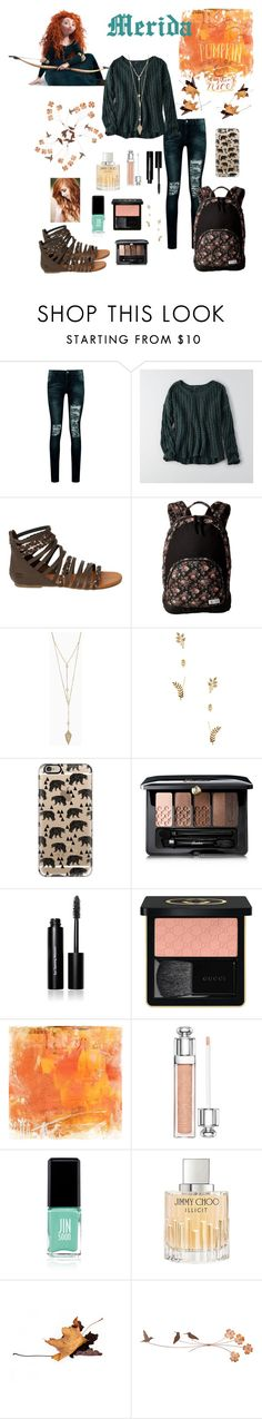 """""""Fall Outfit : Merida"""" by dawndreader ❤ liked on Polyvore featuring Boohoo, Merida, American Eagle Outfitters, Billabong, Volcom, Cara Couture, Casetify, Guerlain, Bobbi Brown Cosmetics and Gucci"""