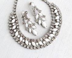 Vintage Rhinestone Necklace & Clip On Earring Set - White Milk Glass, Clear Rhinestone Bridal Wedding Costume Jewelry / Icy Demi Parure by Maejean Vintage on Etsy, $48.00