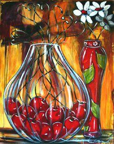 Daniel Vincent, l'artiste aux cerises Daniel Vincent, Art Du Vin, Art Fantaisiste, Wine Art, Paintings I Love, Art Floral, Whimsical Art, Pictures To Paint, Stone Painting