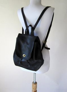 Vintage Coach Black Leather Backpack Purse Bag by FabVintage …