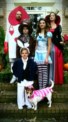 Halloween family costume idea: Alice in Wonderland. Queen of Hearts; Mad Hatter; Alice; White Rabbit; Ace of Hearts & Cheshire Cat. Schmidt family 2013.