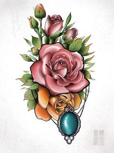 Tiger Tattoo Design, Floral Tattoo Design, Flower Tattoo Designs, Body Art Tattoos, Sleeve Tattoos, Mosaic Tattoo, Black Pen Sketches, Rose Flower Tattoos, Tattoo Studio