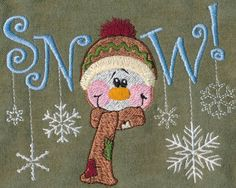 Threadsketches' set Winter Friends - Christmas embroidery designs, Big Black Friday Sale!, snowman snow with snowflakes