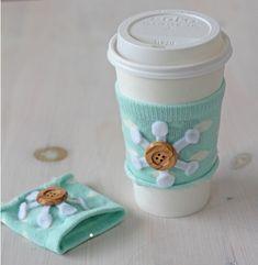 Use an old sock to make a mug cozy