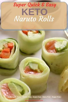 Naruto Rolls automatically Low Carb or Keto are easier then you think. Snacks Recipes, Keto Snacks, Brunch Recipes, Summer Recipes, Appetizer Recipes, Dinner Recipes, Best Low Carb Recipes, Sugar Free Recipes, Low Carb Lunch