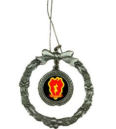 If you need a unique gift for this holiday season then this beautifully detailed Pewter 25th Infantry Division Veteran Wreath Ornament is just that. All of Our Pewter Christmas Ornaments are 100% made in the USA. *Considered collectibles, ornaments are one of those things that are remembered & kept for a lifetime. Pewter is an attractive metal that was used in the ancient world by the Egyptians & later the Romans & British to make various household & everyday items.