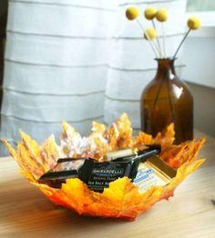 Cuenco hojas otoño manualidades decoración