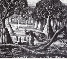 The Woodsman. Cool Art, Nice Art, Charcoal Art, Wood Engraving, Romanticism, Wood Print, Landscape Art, Printmaking, Illustrators
