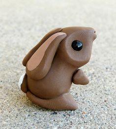 Tiny Bunny - Handmade Miniature Polymer Clay Animal Figure by Animaltoclay on Etsy