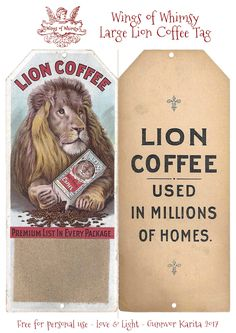 Wings of Whimsy: Large Lion Coffee Tag #vintage #ephemera #freebie #printable #tag #lion #coffee