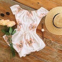 2016 Women's Fashion Boho Bohemian Pink Floral Off Shoulder White Romper Shorts SALE
