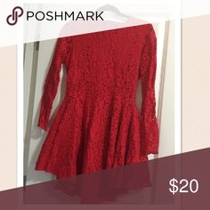 Red dress💃🏻 one hour sale Lace beautiful red dress H&M Dresses Asymmetrical