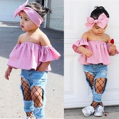 $4.98 AUD - Fashion Summer Toddler Kids Baby Girl Off Shoulder T-Shirt Tops Clothes Outfits #ebay #Home & Garden